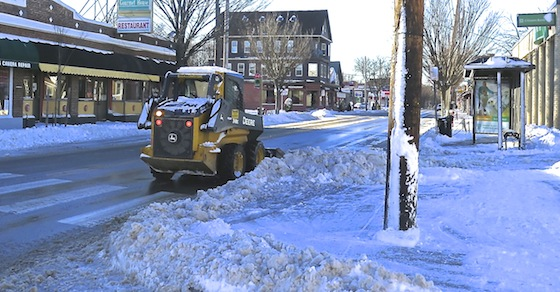 On Hope Street, they got a little help from heavy equipment.