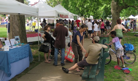 Shoppers crowd the pathways of Lippitt Park. The market is there from 9 a.m. to 1 p.m. on Saturdays and 3 p.m. to 6 p.m. on Wednesdays.