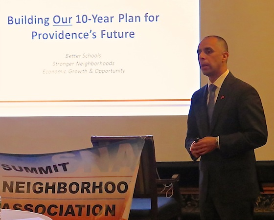 Mayor Jorge Elorza speaks to the meeting of the SNA board and public guests.