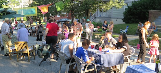 At least 50 neighbors gathered Saturday for a block party on Larch Street organized by John Harkey. A little outside SNA's usual area, but we were invited because we're all neighbors.
