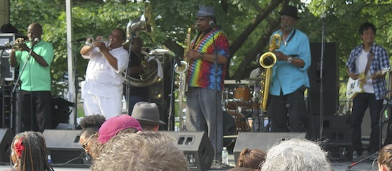 The Dirty Dozen Brass Band playing in 2015.