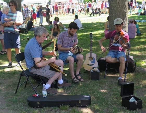 Musicians entertain July 2 at the farmers market in Lippitt Park. The community event is open Saturdays from 9 a.m. to 1 p.m. and Wednesday from 3 p.m. to 6 p.m.