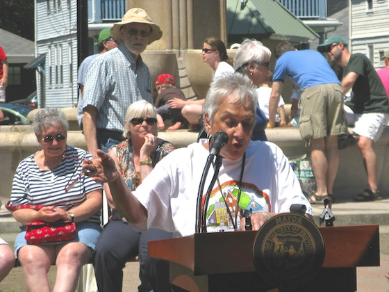 Long-time SNA board member Sheila Perlow speaks at the rededication of the Henry Bowen Anthony Fountain in Lippitt Park in 2011. She pointed out that she and the fountain were the same age.