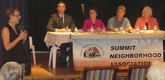 Moderator Gayle Gifford introduces panel members, from left. Jeffery Dana, Linda Katz, Rabbi Alan Flam and Diana Burdett. In addition, Cliff Wood spoke from the floor and Rep. Aarom Regenburg helped moderate.