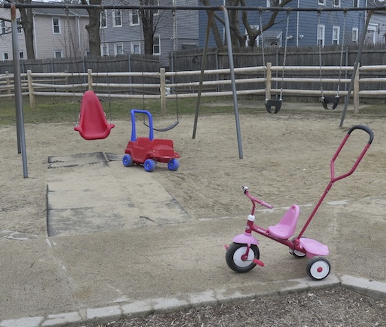 There are a few toys remaining in the Summit Avenue playground.