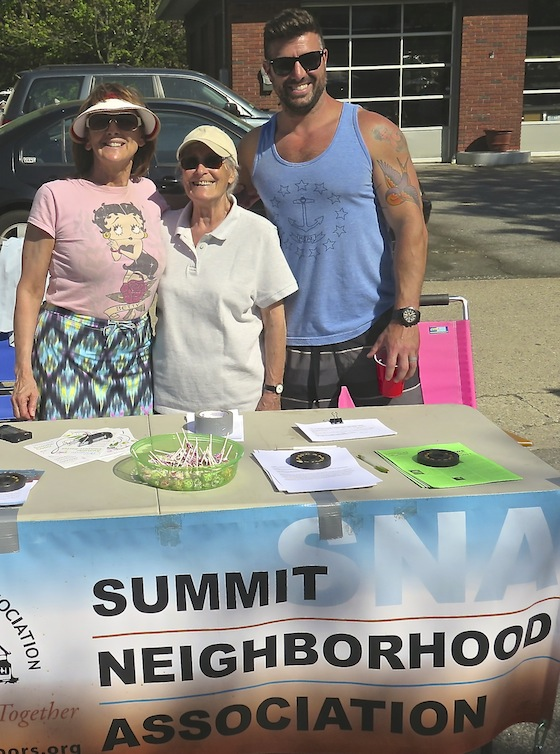 Later, from left, Sandra Lee, Anneliese Greenier and John Pettinelli rounded out the afternoon, telling passersby about SNA's activities and recruiting new members.
