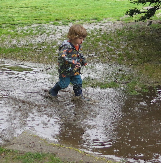 But one attendee didn't mind the rain. A puddle ie meant for a child in boots.