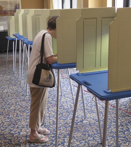 At midafternoon, there were plenty of voting booths available at Summit Commons.
